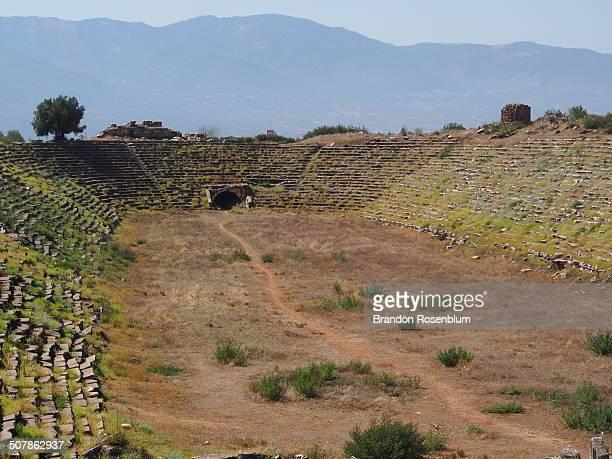 stadium at aphrodisias - priene stock photos and pictures