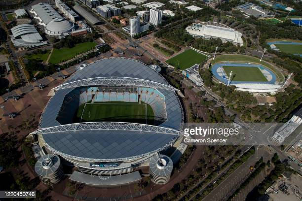 Stadium at Sydney Olympic Park is closed on April 22, 2020 in Sydney, Australia. Restrictions have been placed on all non-essential business and...