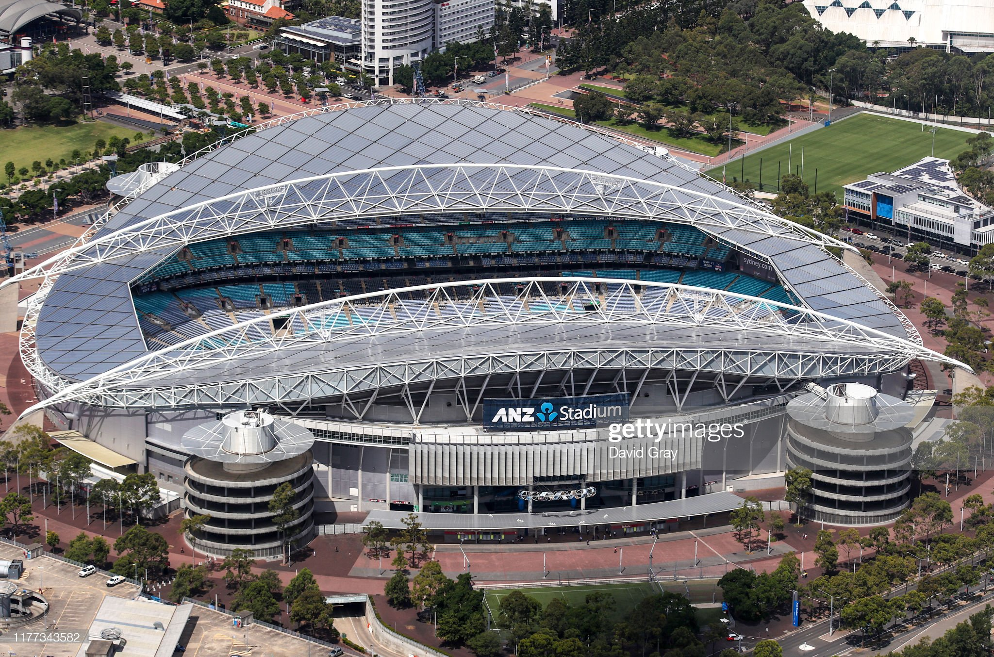 Stadium Australia at Sydney Olympic Park located at Homebush Bay in Sydney, Australia : ニュース写真