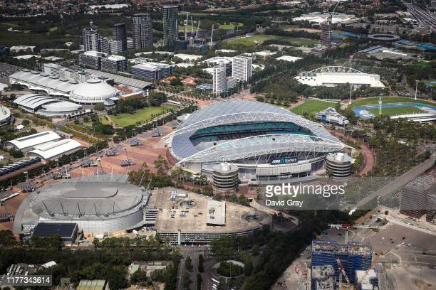 Stadium Australia, commercially known as ANZ Stadium and formerly as Telstra Stadium, can be seen from above on February 16, 2019 at Sydney Olympic...