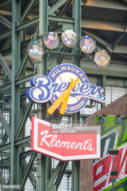Stadium clock during the first game of the final home series between the Milwaukee Brewers and the Pittsburgh Pirates on September 11 at Miller Park...