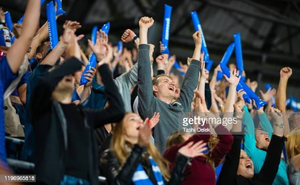 stadium crowd cheering and clapping - match sport stock pictures, royalty-free photos & images