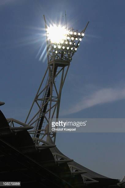 Stadium floodlight is seen during the Eredivisie match between Roda and Twente at Parkstad Limburg stadium on August 6, 2010 in Kerkrade, Netherlands.