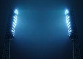 Stadium Floodlights against Dark Night Sky