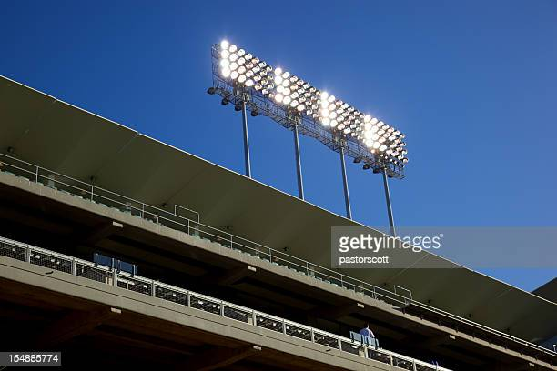 stadium lights and bleachers - stadium lights stock pictures, royalty-free photos & images