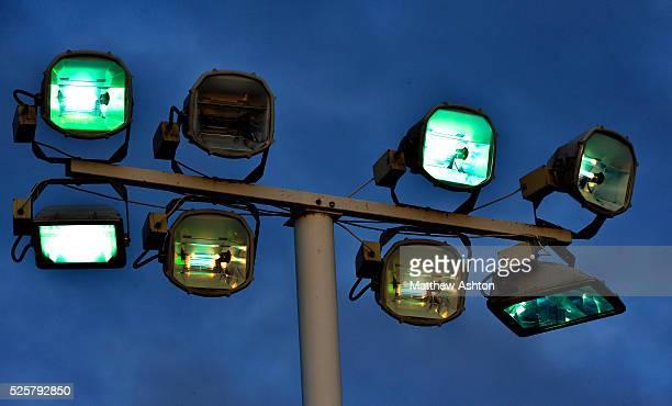 Stadium lights at Greenhous Meadow home of Shrewsbury Town