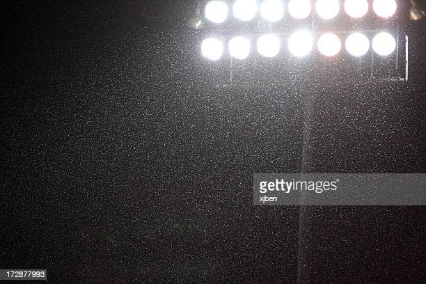 Stadium Lights in Rain