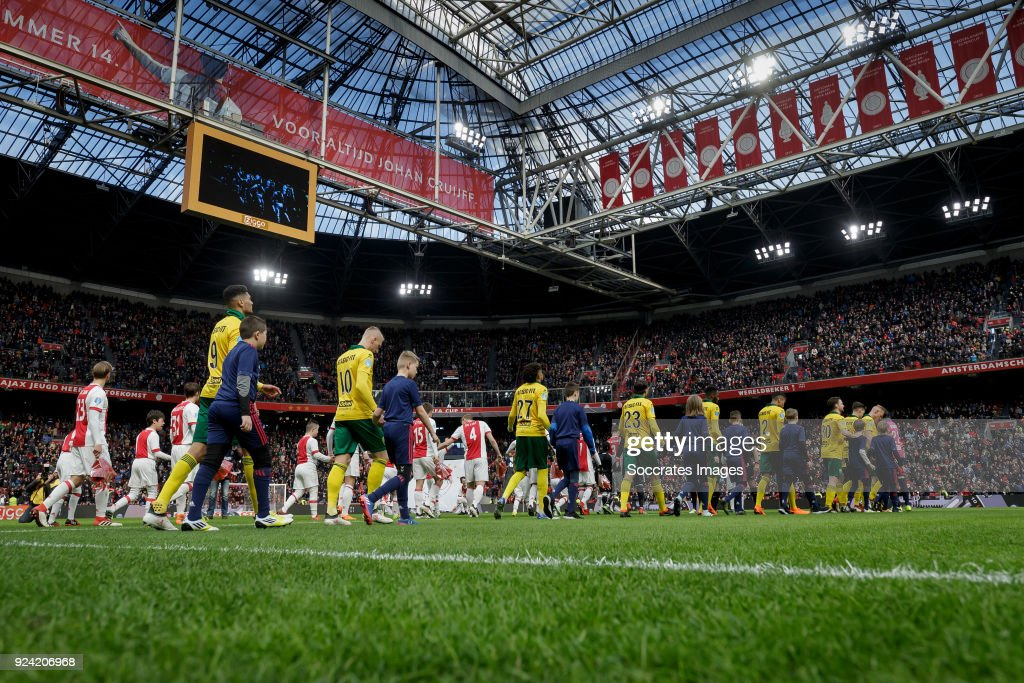 Stadium of Ajax line up of ADO Den Haag during the Dutch Eredivisie match between Ajax v ADO Den Haag at the Johan Cruijff Arena on February 25, 2018 in Amsterdam Netherlands