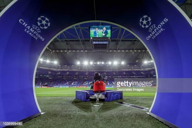 stadium of FC Schalke 04 UEFA Champions League logo during the UEFA Champions League match between Schalke 04 v FC Porto at the Veltins Arena on...