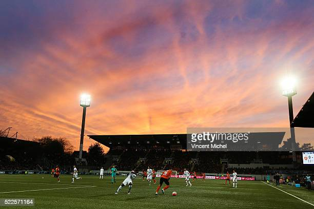 Stadium of Lorient during the semi-final French Cup between Lorient and Paris Saint-Germain at Stade du Moustoir on April 19, 2016 in Lorient, France.