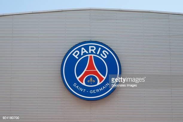 stadium of Paris Saint Germain logo during the French League 1 match between Paris Saint Germain v Olympique Marseille at the Parc des Princes on...