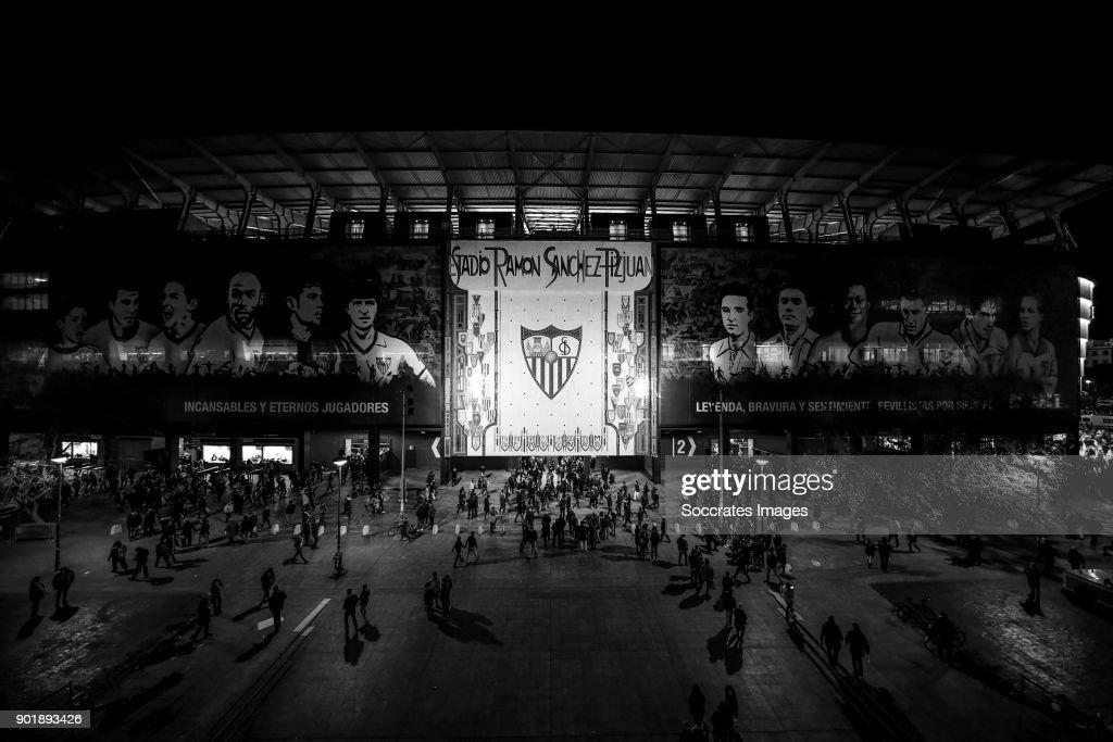 stadium of Sevilla during the La Liga Santander match between Sevilla v Real Betis Sevilla at the Estadio Ramon Sanchez Pizjuan on January 6, 2018 in Sevilla Spain