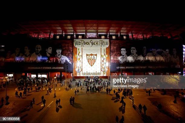 stadium of Sevilla during the La Liga Santander match between Sevilla v Real Betis Sevilla at the Estadio Ramon Sanchez Pizjuan on January 6 2018 in...