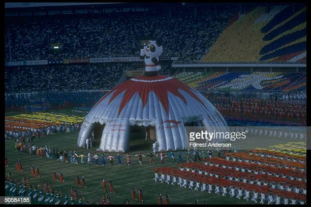 Stadium overall during dress rehearsal for Asian Games opening ceremony w Panda mascot topped balloon tent centerpiece1990AMES