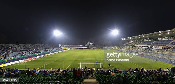 Stadium overview during the DFB Cup between FC Carl Zeiss Jena and VFB Stuttgart at ErnstAbbeSportfeld on October 28 2015 in Jena Germany