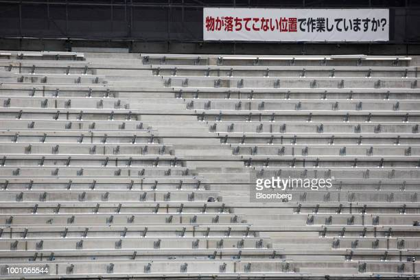 Stadium risers are seen at the construction site of the New National Stadium the main venue for the Tokyo 2020 Olympic and Paralympic Games in Tokyo...