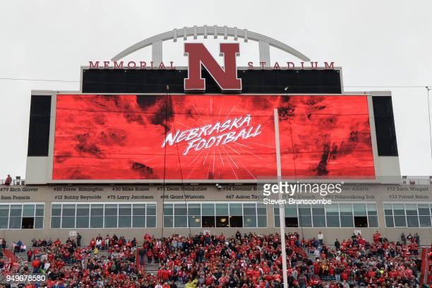 Stadium signage before the Spring game at Memorial Stadium on April 21 2018 in Lincoln Nebraska