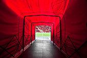 Stadium tunnel onto the field