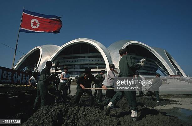 A stadium under construction in Pyongyang