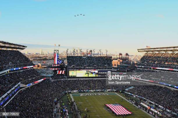 Stadium view and flyover of Lincoln Financial field during the NFC Divisional Playoff game between the Philadelphia Eagles and the Atlanta Falcons on...