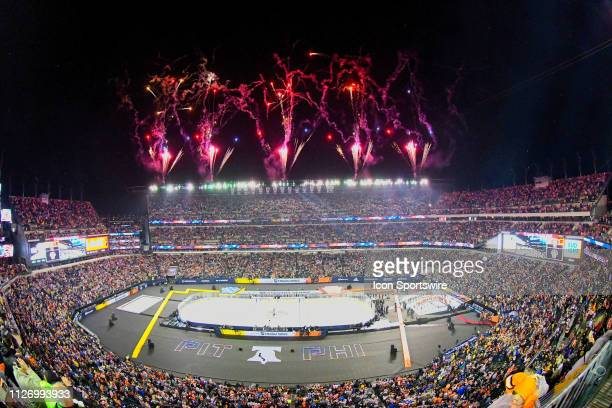 Stadium view of fireworks during the Stadium Series game between the Pittsburg Penguins and the Philadelphia Flyers on February 23 2019 at Lincoln...