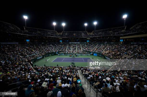 Stadium view of Roger Federer of Switzerland against Stan Wawrinka of Switzerland on March 12 in the third round of the BNP Paribas Open at Indian...