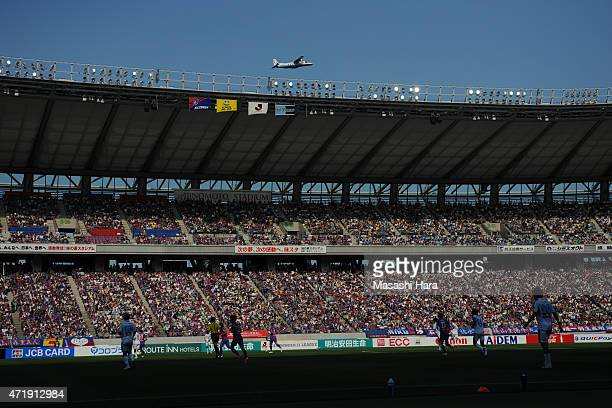 Stadium was full of audience and fly airplane during the JLeague match between FC Tokyo and Kawasaki Frontale at Ajinomoto Stadium on May 2 2015 in...