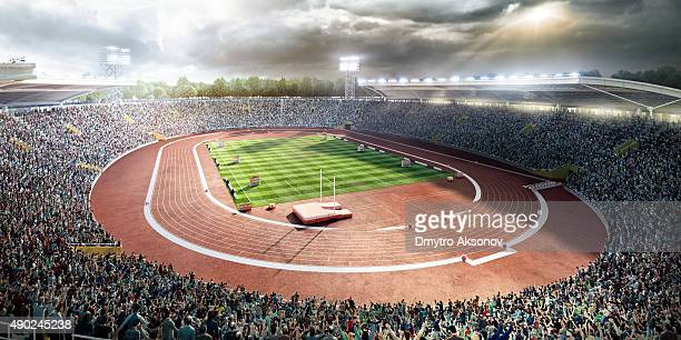 stadium with running tracks - soccer scoreboard stock photos and pictures
