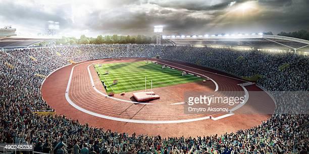 estadio con pistas de atletismo - scoring fotografías e imágenes de stock