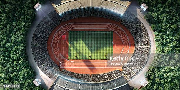 stadium with running tracks - scoreboard stock pictures, royalty-free photos & images