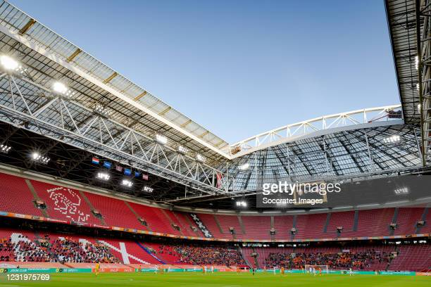 Stadium with supporters of Holland during the World Cup Qualifier match between Holland v Latvia at the Johan Cruijff Arena on March 27, 2021 in...