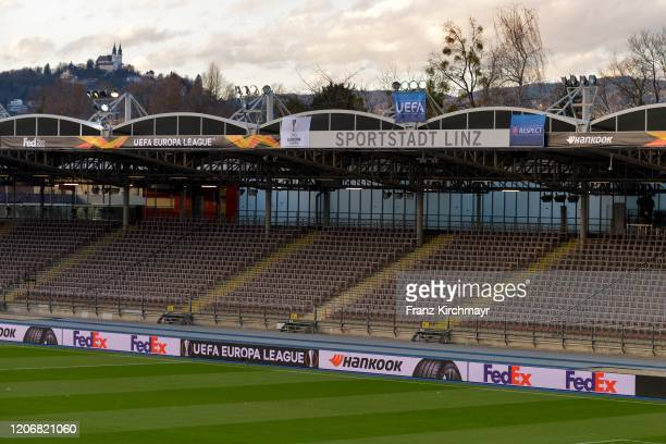 Stadium without spectators at the Group D UEFA Europa League match between LASK and Manchester United at Stadion der Stadt Linz on March 12 2020 in...