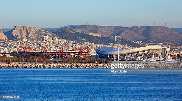 stadiums on the pireaus coastline - piraeus stock photos and pictures