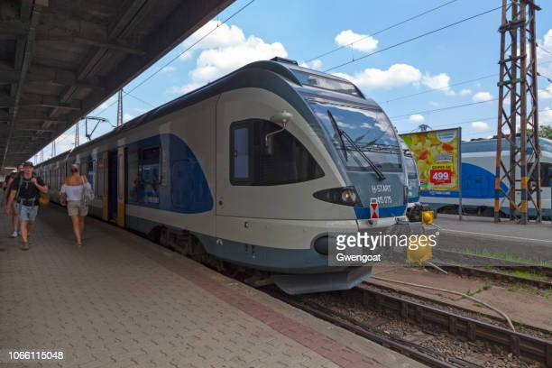stadler flirt in budapest western railway station - gwengoat stock pictures, royalty-free photos & images