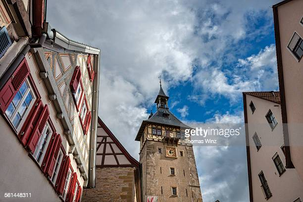 stadt turm marbach - stadt stock pictures, royalty-free photos & images