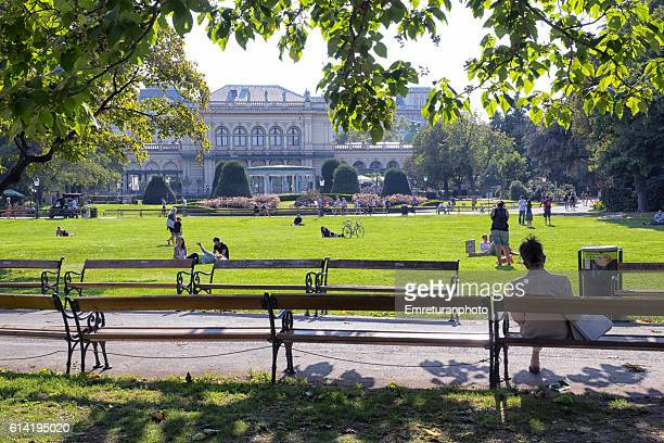 stadtpark on a sunny day in vienna - emreturanphoto stock pictures, royalty-free photos & images