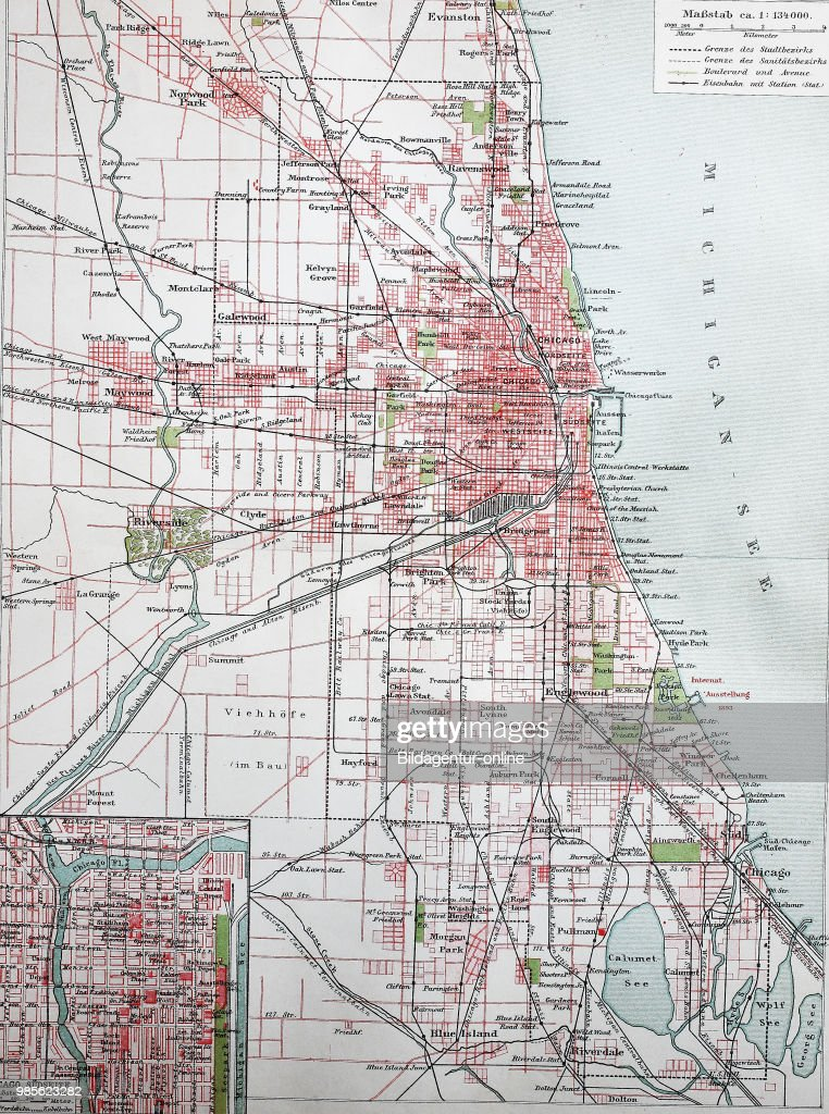 Map Of America Showing Chicago.Stadtplan Von Chicago City Map Of Chicago America Digital Improved