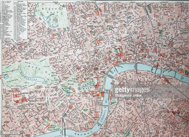 Stadtplan von London City und Westend England city map of London digital improved reproduction of an original print from the year 1895