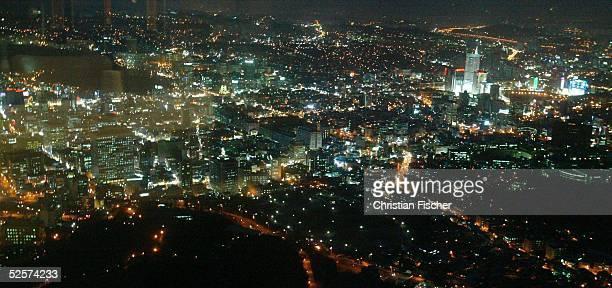 Staedtefeature Seoul Innenstadt von Seoul Downtown Seoul bei Nacht aufgenommen vom Seoul Tower 090304