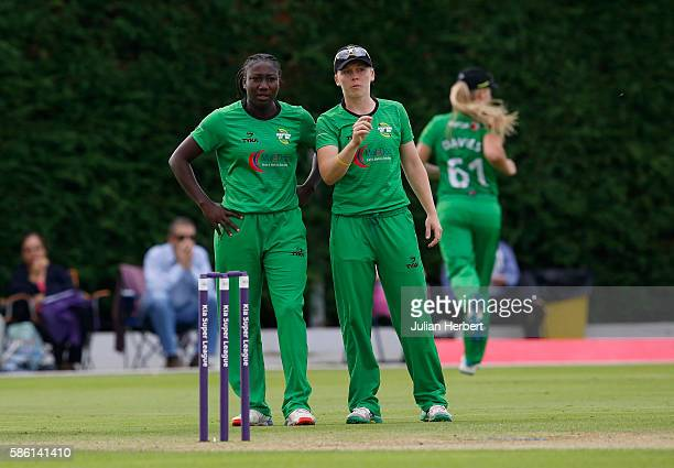 Stafanie Taylor and Heather Knight of Western set a field during the Kia Super League women's cricket match between Loughbrough Lightning and Western...