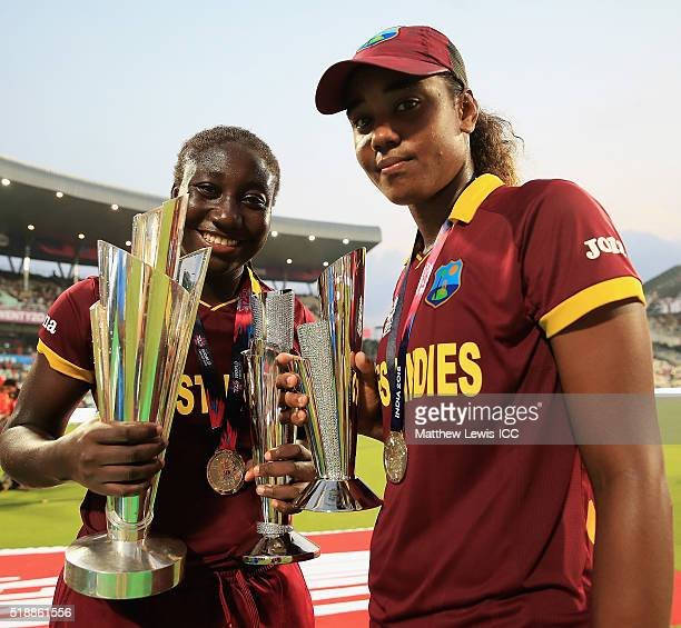 Stafanie Taylor Captain of the West Indies and Hayley Matthews of the West Indies pictured with their trophies during the Women's ICC World Twenty20...
