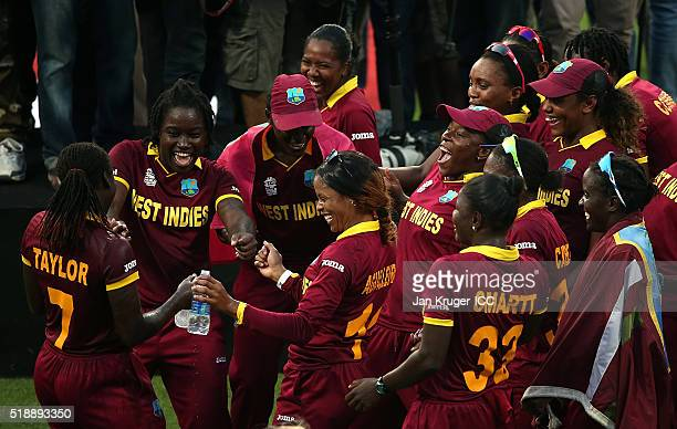Stafanie Taylor, Captain of the West Indies and her team celebrate victory during the Women's ICC World Twenty20 India 2016 final match between...