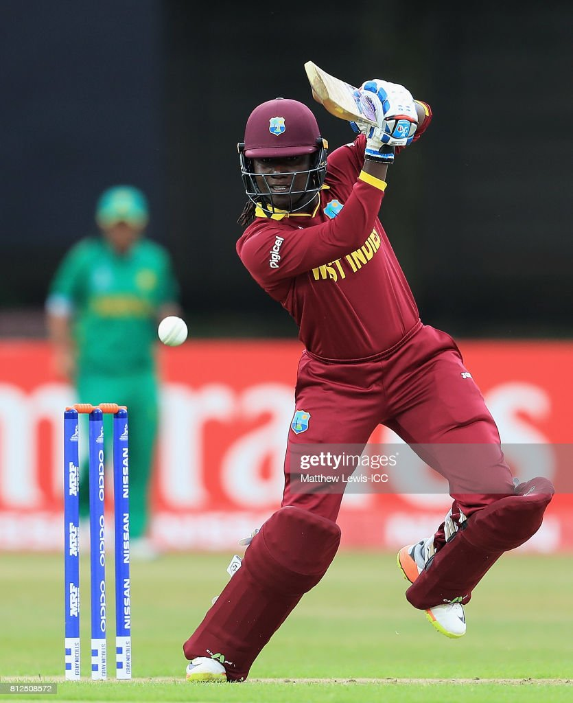 Stafanie Taylor, Captain of the West Indies hits the ball towards the boundary during the ICC Women's World Cup 2017 match between West Indies and Pakistan at Grace Road on July 11, 2017 in Leicester, England.