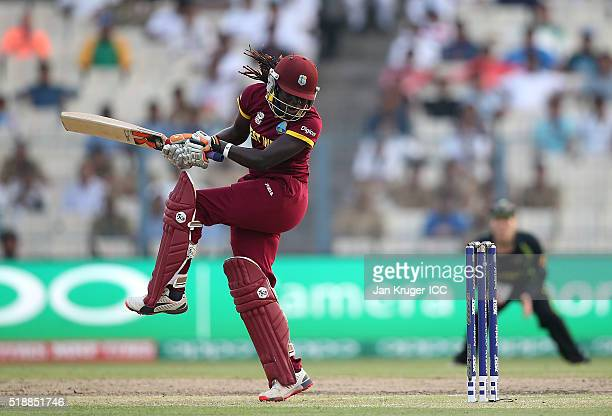 Stafanie Taylor Captain of the West Indies pulls out of a hook shot during the Women's ICC World Twenty20 India 2016 final match between Australia...