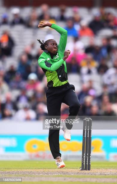 Stafanie Taylor of Southern Brave Women in bowling action during The Hundred match between Manchester Originals Women and Southern Brave Women at...