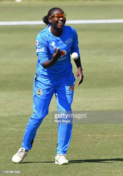 Stafanie Taylor of the Adelaide Strikers celebrates after catching the wicket of Jess Duffin of the Melbourne Renegades during the Women's Big Bash...