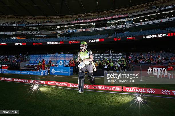 Stafanie Taylor of the Sydney Thunder walks out to open rthe batting during the Women's Big Bash League match between the Melbourne Renegades and the...