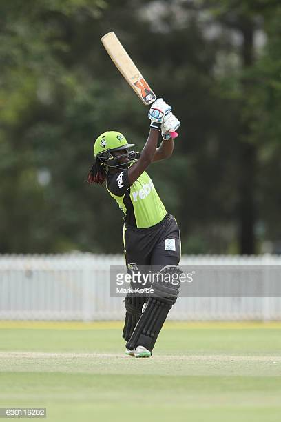 Stafanie Taylor of the Thunder bats during the WBBL match between the Strikers and Thunder on December 17 2016 in Penrith Australia