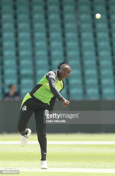 Stafanie Taylor of the Thunder bowls during the Women's Big Bash League match between the Sydney Thunder and the Hobart Hurricanes at the University...