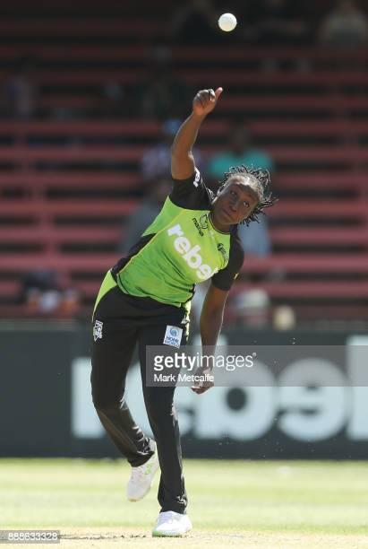 Stafanie Taylor of the Thunder bowls during the Women's Big Bash League WBBL match between the Melbourne Renegades and the Sydney Thunder at North...